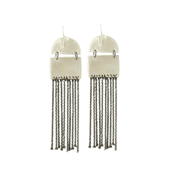 Silver Chainlink Fringe Earrings