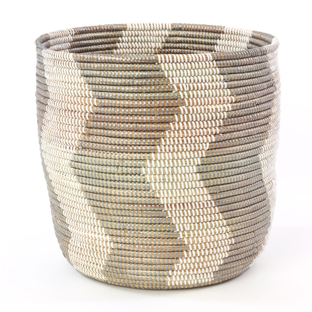 Silver and White ZigZag Basket