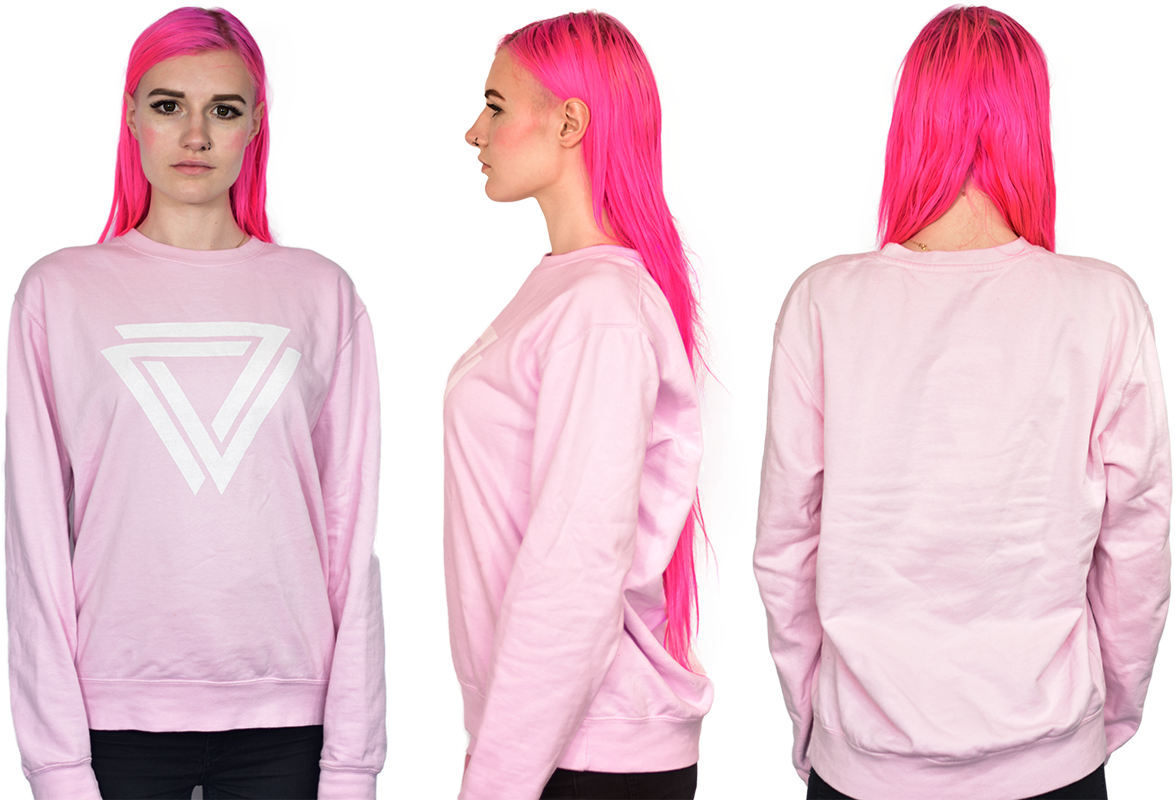 Baby Pink Basic Crewneck with a inverted Alpha Mob Logo on
