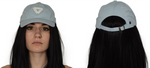 Baby Blue Cap with a white Alpha Mob Ladies Logo on the front