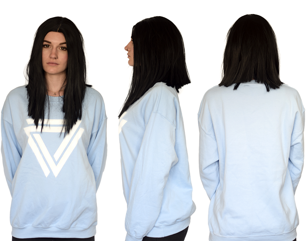 Baby Blue Basic Crewneck with a inverted Alpha Mob Logo on