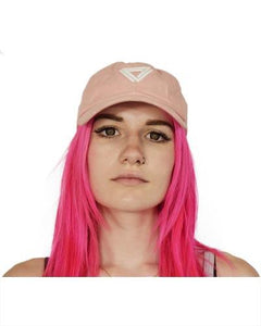 Baby Pink Cap with a white Alpha Mob Ladies Logo on the front