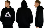 Black unisex basic hoodie with a white Alpha Mob logo on