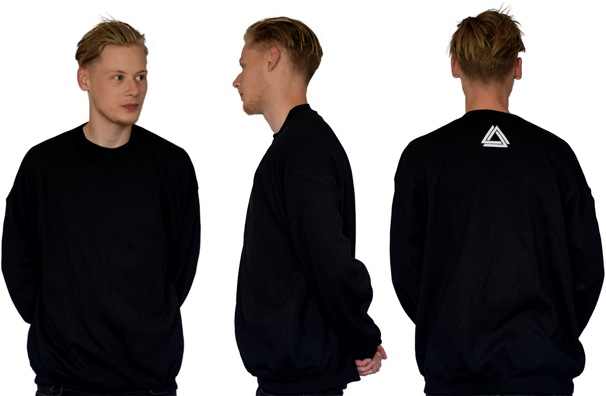Minimalistic black unisex crewneck with a white Alpha Mob logo on the neck