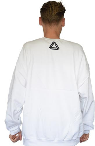 Minimalistic white unisex crewneck with a black Alpha Mob logo on the neck