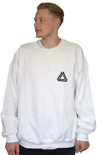 White Basic Crewneck with a black Alpha Mob Logo on