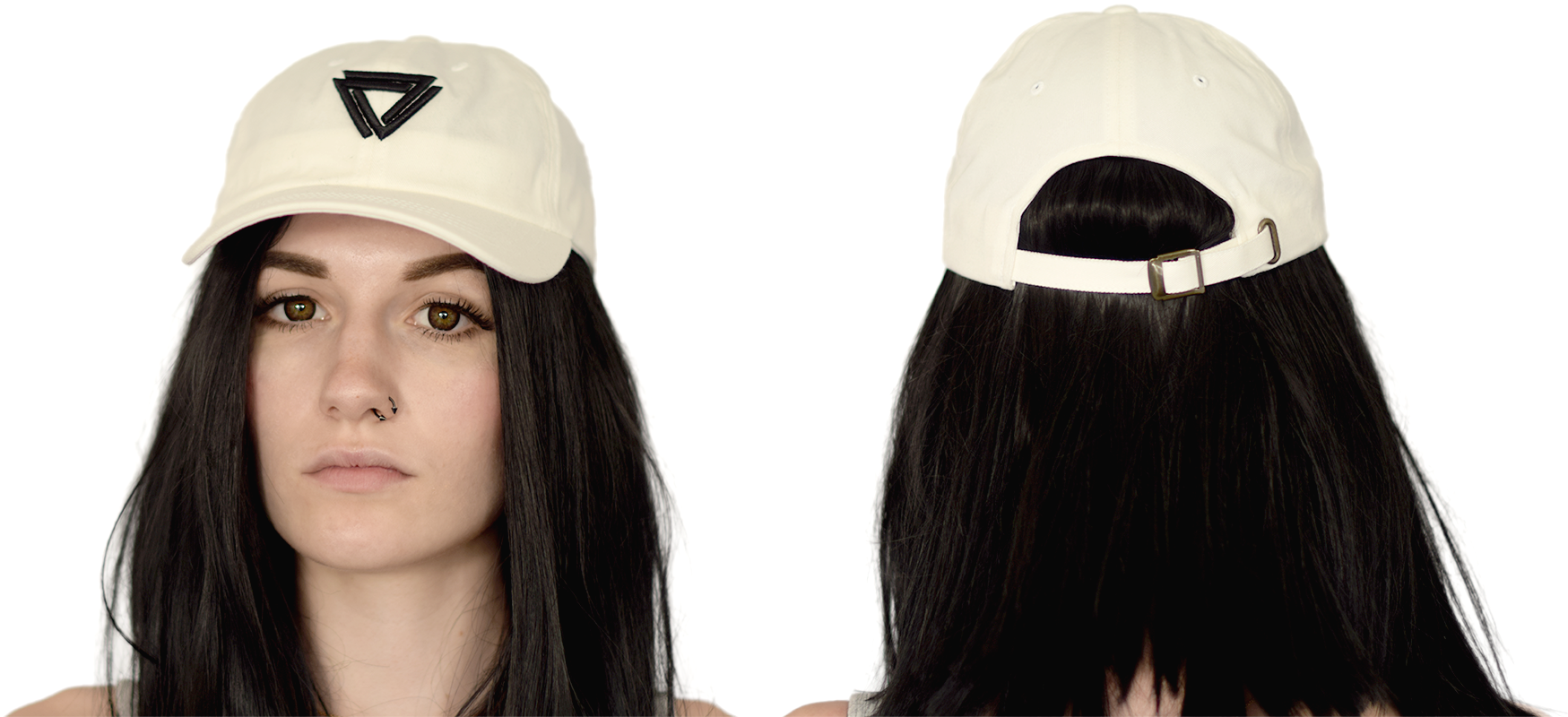 White Cap with a black Alpha Mob Ladies Logo on the front