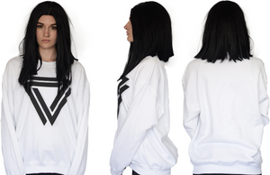 White Basic Crewneck with a inverted Alpha Mob Logo on