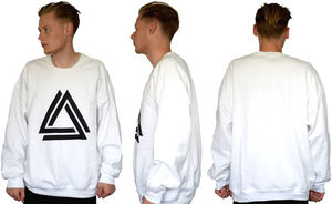 White unisex basic crewneck with a black Alpha Mob logo on