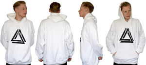 White unisex basic hoodie with a black Alpha Mob logo on