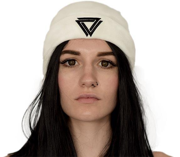White bennie with a black Alpha Mob Logo on