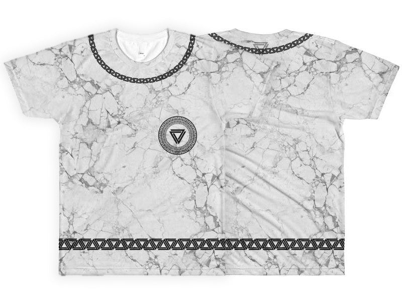 Alpha Mob Marble all-over white marble print t-shirt with the alpha mob logo in the neck and alpha mob logo chains