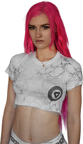 Marble print crop top from Alpha Mob with a black alpha mob logo