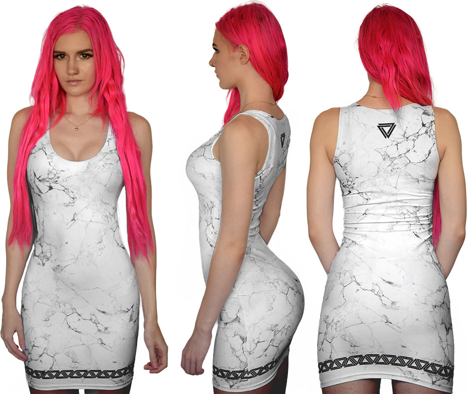 Marble print dress from Alpha Mob with a black alpha mob logo