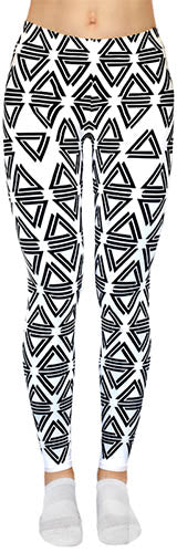 Alpha Mob white leggings with black Alpha Mob logos all-over print