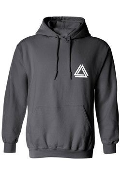 Minimalist unisex black hoodie with a white mini Alpha Mob logo on the chest