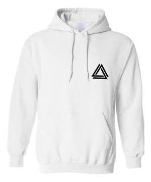 Minimalist unisex white hoodie with a black mini Alpha Mob logo on the chest