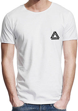 White minimalist t-shirt with a mini Alpha Mob logo on the chest