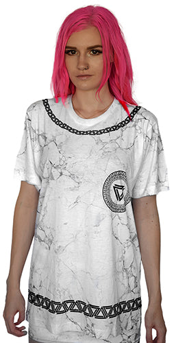 Marble print t-shirt from Alpha Mob with a black alpha mob logo chain on