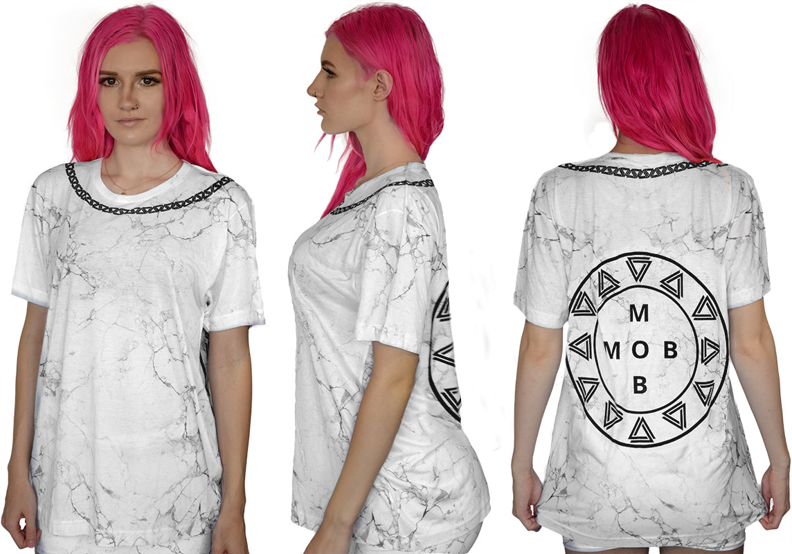 Marble print t-shirt from Alpha Mob with a black alpha mob logo chain on and logo on back