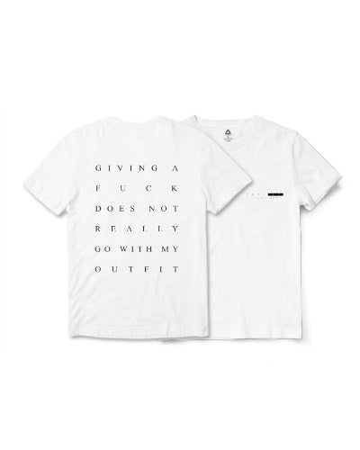 d460b4b35d53a White T-shirt from ALPHA MOB with a statement on the back