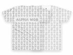 White T-shirt from ALPHA MOB with triangular pieces all-over print