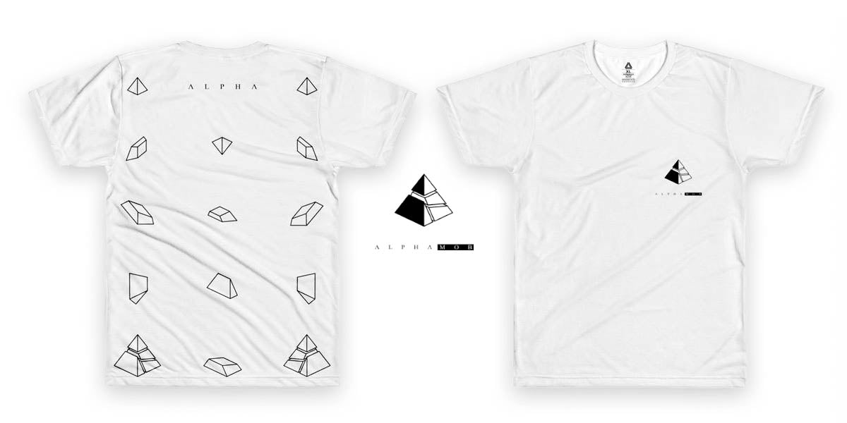 White T-shirt from ALPHA MOB with triangular pieces falling into a pyramid