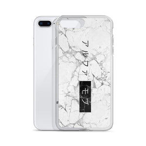 White Marble iPhone 7/8 Case with the Japanese Alpha Mob Logo on
