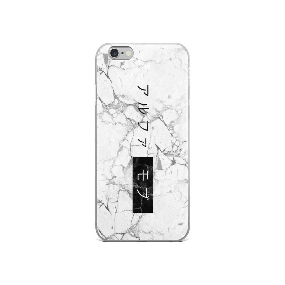 White Marble iPhone 6/6s Case with the Japanese Alpha Mob Logo on