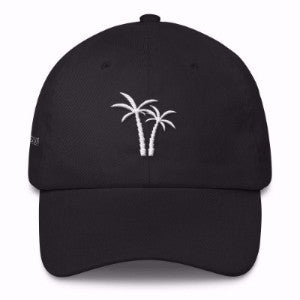 Black Alpha Mob and Idyllic Ent dad cap with palmtrees on front
