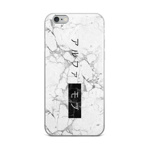 White Marble iPhone 6 Plus/6s Case with the Japanese Alpha Mob Logo on