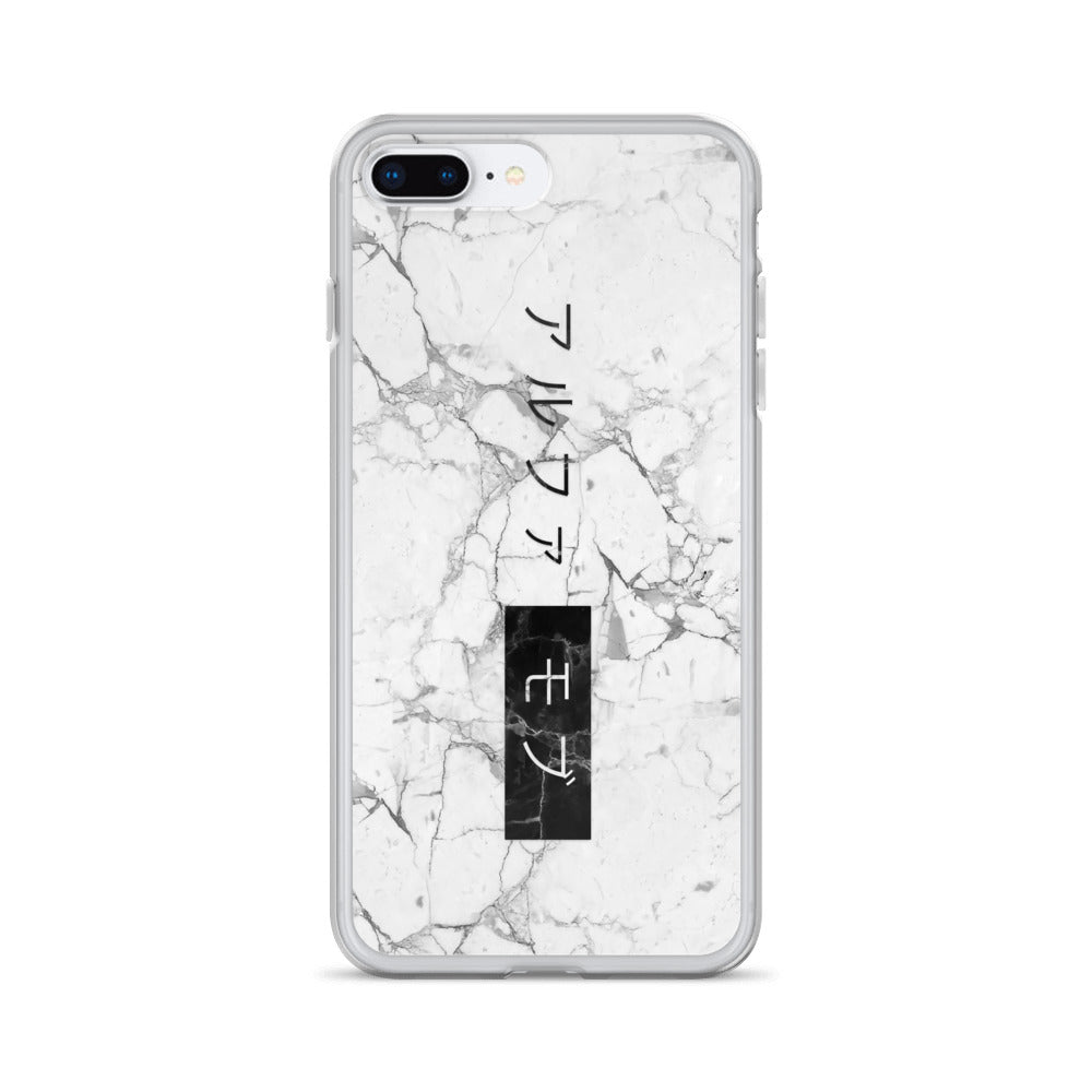 White Marble iPhone 7 Plus/8 Case with the Japanese Alpha Mob Logo on