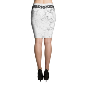 Alpha Mob Marble all-over white marble print skirt
