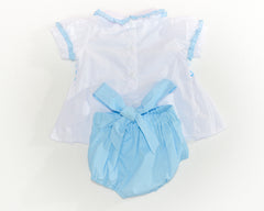 smocked two piece set light blue back by Charmy Charmy