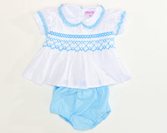 smocked two piece set light blue by Charmy Charmy