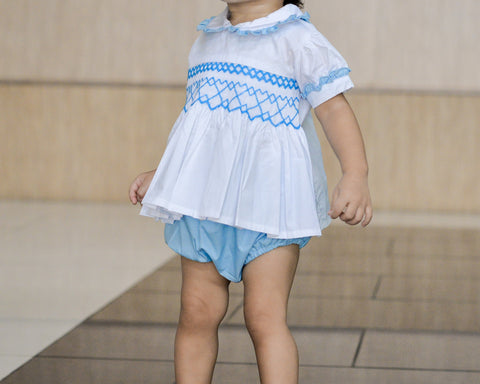smocked two piece set light blue model by Charmy Charmy
