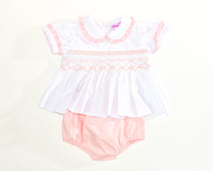 smocked two piece set pink front