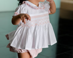 smocked two piece set pink model
