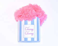 Hot pink cotton candy tutu skirt in a hat box by Charmy Charmy