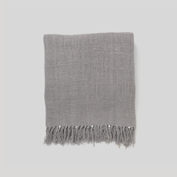 Cotton Beaded Throw Grey