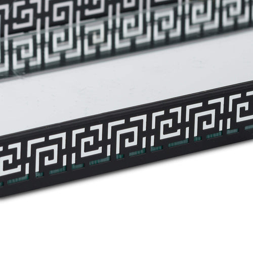 Black Decorative Rectangular Display Trays - Mirror Effect