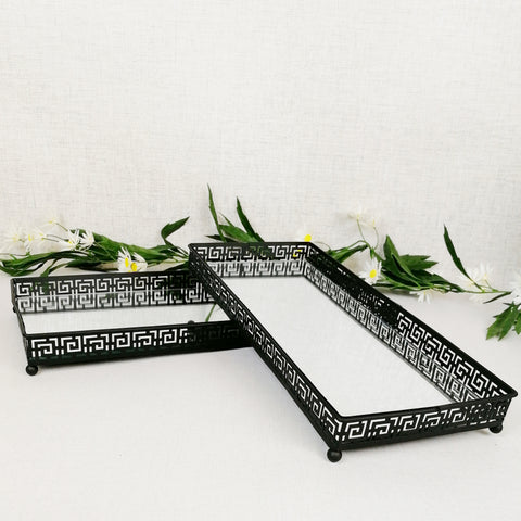 Black Decorative Circular Trays - Mirror Effect