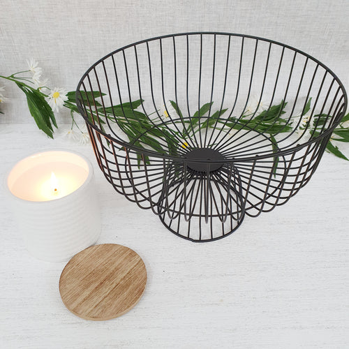 Summa Black Wire Fruit Bowl with Candle