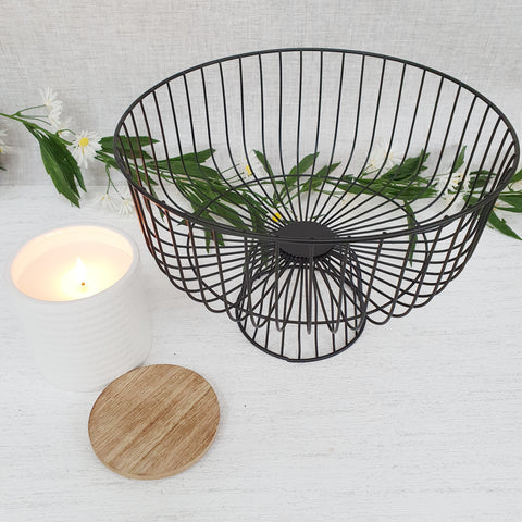 Round Black Geometric Wire Metal Tray Table