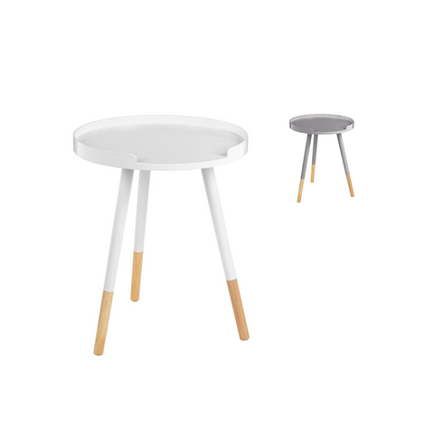 Round Modern White Metal & Wooden Effect Wood Side Table