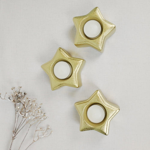 Gold Star Tea Light Candle Holder - Set of 3