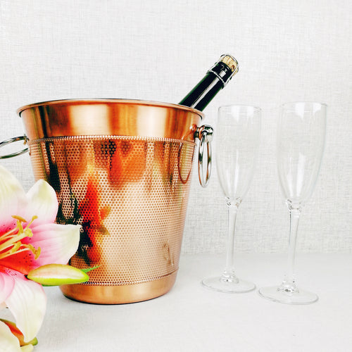 Copper Ice Bucket with Flower and Glasses