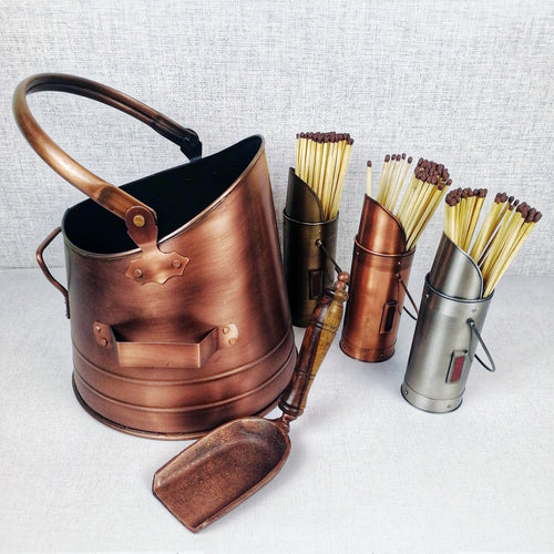 Copper Effect Coal Bucket with Shovel