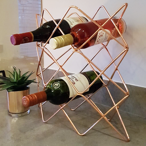 copper wine rack in kitchen