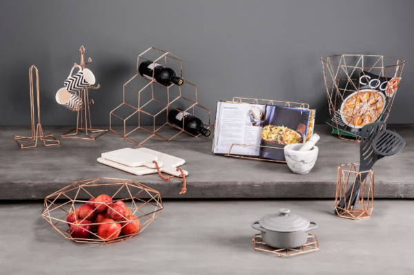 Copper Geometric Wine Rack